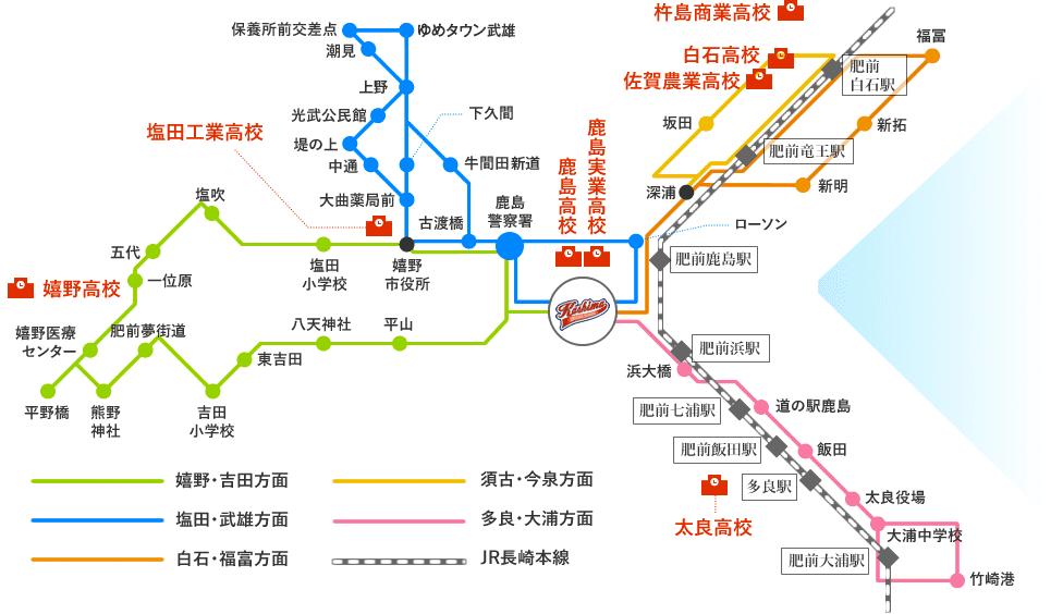 地図:鹿島自動車学校スクールバス路線図