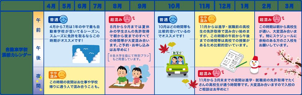 自動車学校混雑カレンダー
